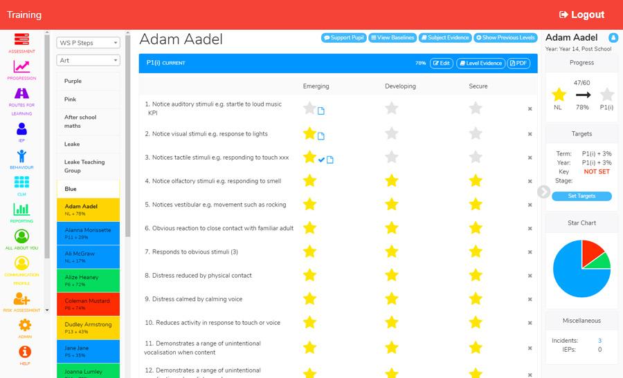 Pupil Assessment Screen