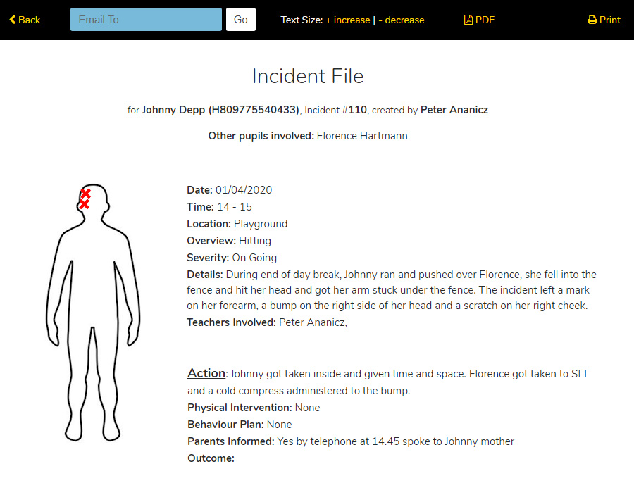 Behaviour and Incident Reporting Screen