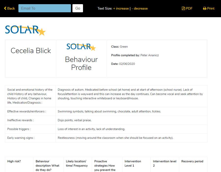 Behaviour Profile Form
