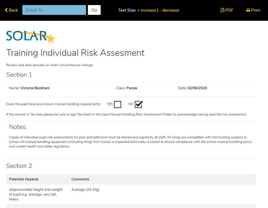 Risk Assessments Form